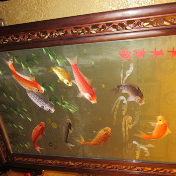 Chinese/ Asian Koi floor screen  - Asian
