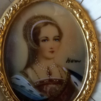 Hand Painted Miniature Portrait/MOP & Faux Ivory/Celluloid Panel Frame Thrift Shop Find 1 Euro ($1.07) - Fine Art