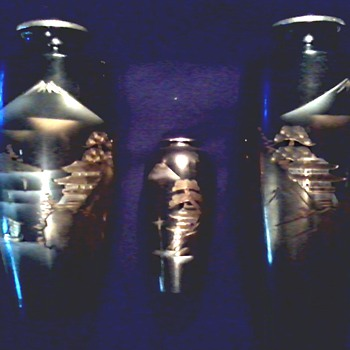 "3 Asian Etched Brass ""Chokin"" Landscape Vases / Black Lacquer with Gold and Silver Designs/ Signed Circa 1940's-50's    - Asian"