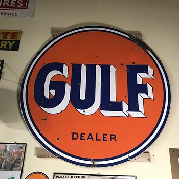 Gulf 6ft dealer sign  - Petroliana