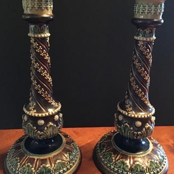 Pair of Doulton Lambeth Candlesticks   - China and Dinnerware