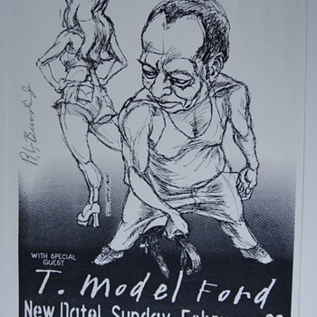Autographed RL Burnside (1926 - 2005) Mississippi Country Bluesman, Xerography Illustration by Derek Hess - Posters and Prints