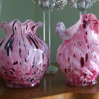 "1898 LEGRAS of St-Denis, France PINK ""Boules Facettes"" and ""Vide Poche Trois Coins"" VASES - Art Glass"
