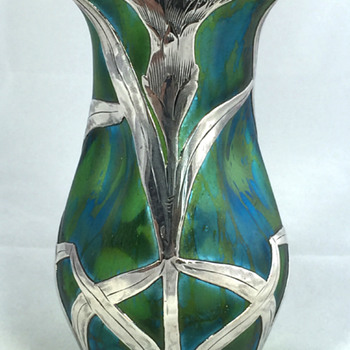 "Loetz ""Phänomen Genre 1/473 variant"" with Alvin Silver Overlay. 4.75"" tall. Circa 1901. PN Unknown - Art Glass"