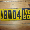 1913 indiana porcelian license plate