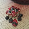 D & E RUBY RED & BLACK DIAMOND BROOCH...rare glass dangles!