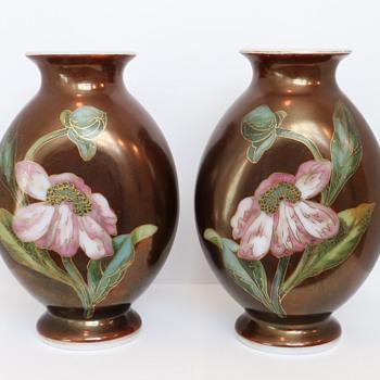 St. Louis Enameled Opaline Peony Vases, c. 1880 - Art Glass