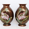 St. Louis Enameled Opaline Peony Vases, c. 1880