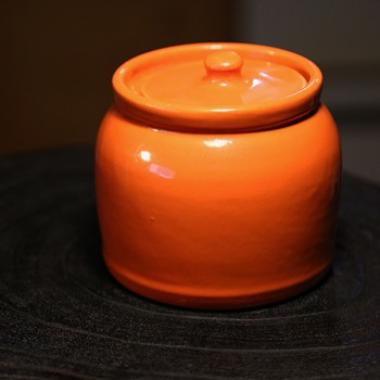 Orange California Pottery Covered Jar - Pottery
