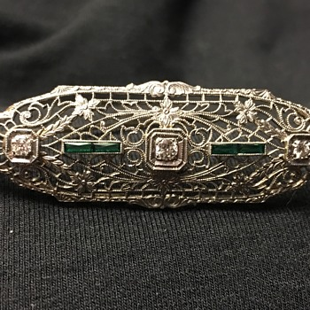 14K White Gold Antique Brooch with Diamonds - Fine Jewelry