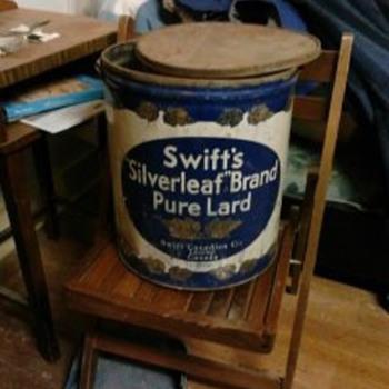 swifts  50 lb lard can  - Advertising