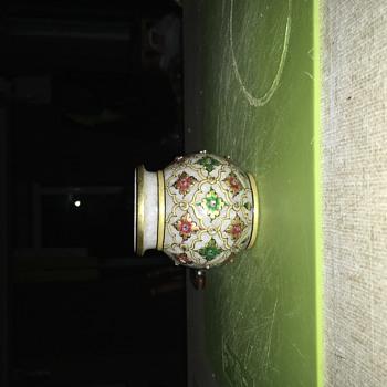 Vase with enamel and glass design quartz? - Asian
