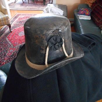 Unusual Antique Leather Coachmans Hat - Hats