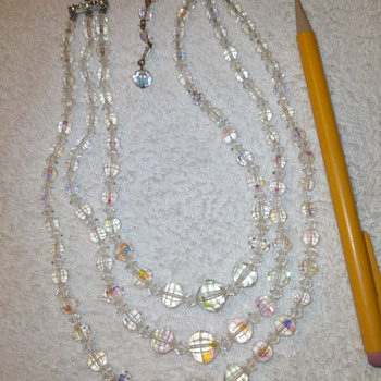 three strand crystal (?) necklace - Costume Jewelry