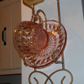 Pink Depression Glass Cup Windson Pattern By Jeanette