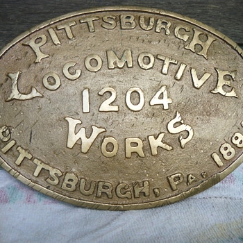 1891 Pittsburgh builders plate from the Iowa Central railroad engine #52 - Railroadiana