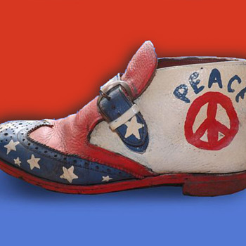 Original 1960's OOAK Hippie Folk Art Peace Protest Boot - Folk Art