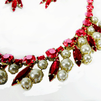 Rare Sherman Pearl and Siam Red Necklace with Earrings - Costume Jewelry