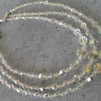 Vintage Faceted Glass Aurora Borealis 3 Strand Bead Necklace - Costume Jewelry