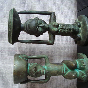 Unidentified antique tribal African ethnic bronze figural candlesticks holders