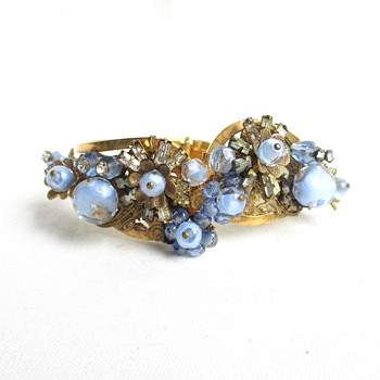 Glass Wire Beaded and Rose Montee Crystal Vintage Clamper Bracelet - Costume Jewelry