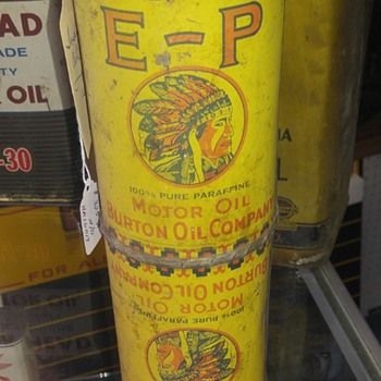 E-P Burton Motor Oil Company cans - Petroliana