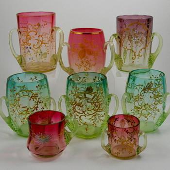 Tyg Vaseline (Uranium) Bohemian Glass Grouping - Glassware