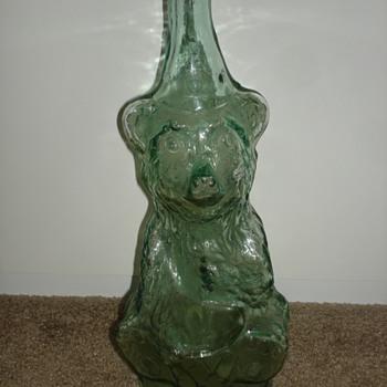 Funky Antique Glass Bear Bottle - Bottles