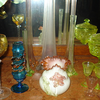 Some vaseline glass: a set of different color uranium glass vases - Art Glass
