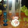 Some vaseline glass: a set of different color uranium glass vases