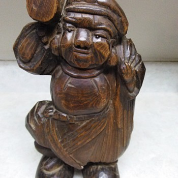 LARGE WOOD CARVING OF A MAN - Asian