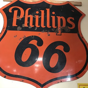 Phillips 66 double sided  1940's gas station sign  - Signs
