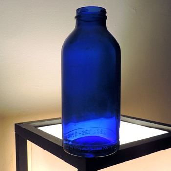 Cobalt Blue Emerson Bromo Seltzer Bottle Vintage Maryland Glass Round 22 Ounces Medicine Apothecary - Bottles