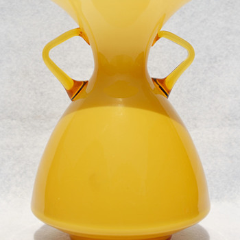 KRALIK Deco Opalescent handled amber vase - Art Glass