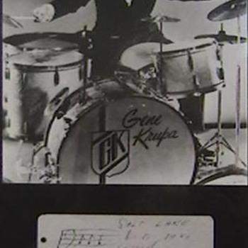 Jazz Drummer Gene Krupa Photo and Autographed Index Card - Music Memorabilia