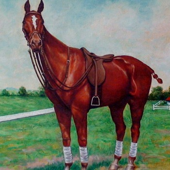 "Horse Painted On Canvas ""HEREIAM"" J.Gerardi - Fine Art"