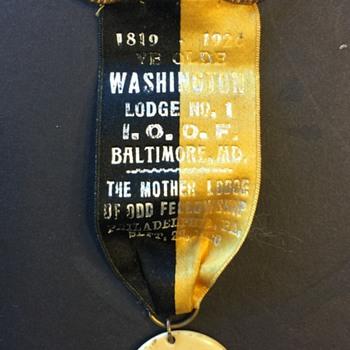 "Masonic Ribbon ""YE OLDE Washington Lodge No. 1"" Sept. 22nd 1920 - Medals Pins and Badges"