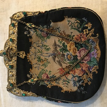 Ornate Handbag with Emeralds, Embroidery, Gold - Bags