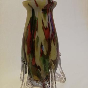 Bohemian/Czech Vase on Five Bended Knees - Art Glass