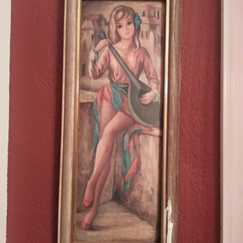 Pretty Women Holding a Madolin Picture Frame - Fine Art