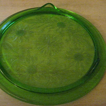 Green sunflower pie plate - Glassware