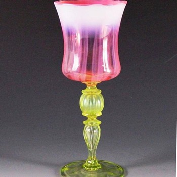 L.C.Tiffany Favrile Venetian Opalescent Goblet. - Art Glass