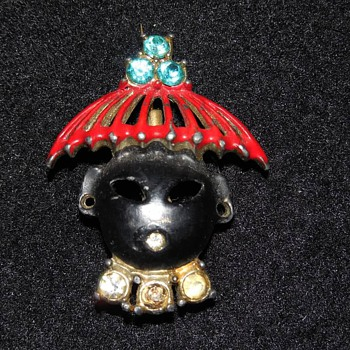 Asian Themed Pin with Rhinestones, Red Hat and Dark Face - Costume Jewelry