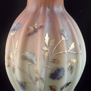 Antique Victorian Loetz DEK I/417 Hand Painted CORALENE Art Glass Vase - Art Glass