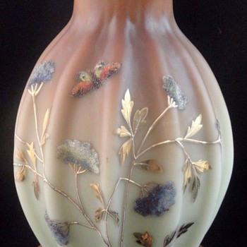 Antique Victorian Loetz DEK I/417 Hand Painted CORALENE Art Glass Vase - Art Glass