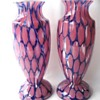 Interesting A. Ruckl Pair Glass Honeycomb Vases - pink spatter base & cobalt powder design