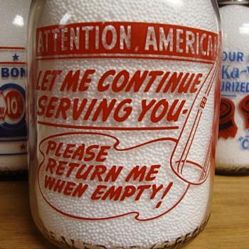 "SANIDA DAIRY...ERIE PENNSYLVANIA PATRIOTIC ""ATTENTION AMERICA"" SLOGAN....... - Bottles"