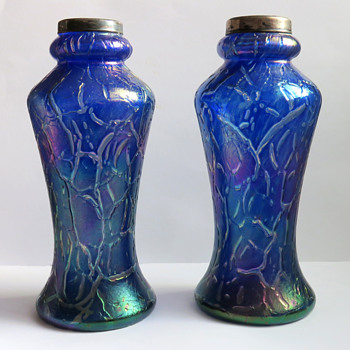 Pair of Cobalt Blue Bohemian Crackle Vases with Silver Rims - Art Glass