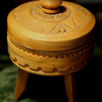 Carved Treenware on Three Long Legs - Folk Art
