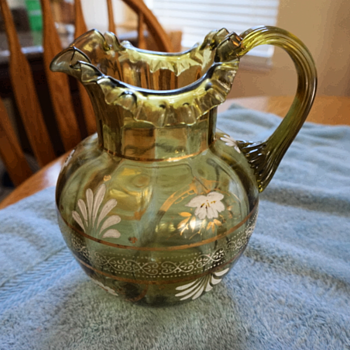 Vintage Bohemian Green Glass Pitcher 1900-1915 - Glassware